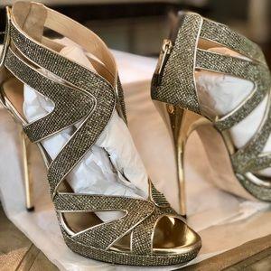 Jimmy Choo heels gold bronze